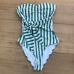 Green Striped Tie Front Bandeau One Piece Swimsuit